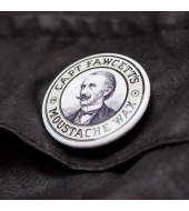 "Captain Fawcett Tin Badge ""Moustache wax"""