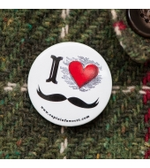 "Captain Fawcett Tin Badge ""I Love Moustache"""