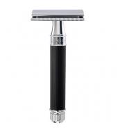 Edwin Jagger razor Closed Comb Rubber coated Black