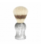 HJM shaving brush, pure bristle, handle material plastic marbled grey