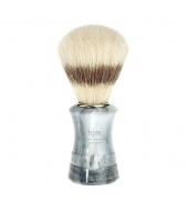 HJM shaving brush, pure bristle, plastic marbled grey