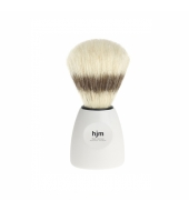 HJM shaving brush, pure bristle, plastic white