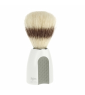 HJM shaving brush, pure bristle, plastic white/grey